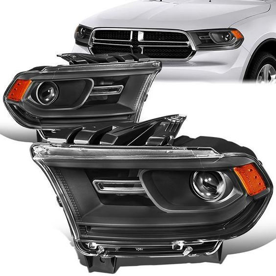 14 19 Dodge Durango Projector Headlight Black Housing Amber Corner Dodge Durango Projector Headlights Headlights