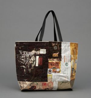 Wacky Wrapper Totes from Sara Bella Upcycled. These totes are made from food wrappers and packaging