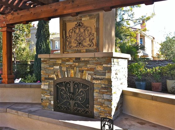 Stone Outdoor Fireplace  san diego landcare""