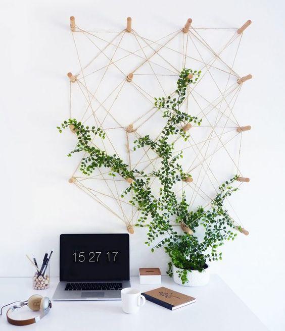 Venez végétaliser votre coin bureau en créant un pegboard sur lequel on vient fixer une ou plusieurs plantes grimpantes
