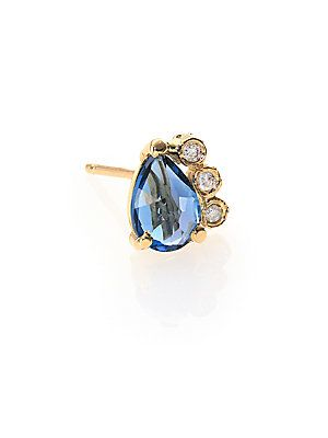 Jacquie Aiche Blue Topaz, Diamond & 14K Yellow Gold Teardrop Singl