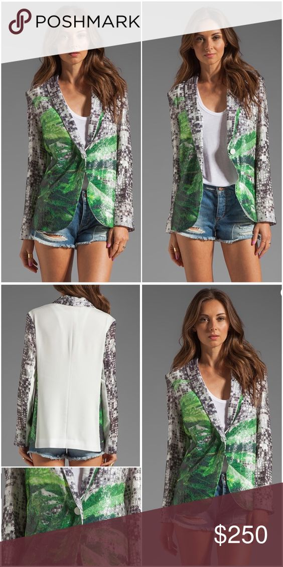 Clover Canyon How High Sequin Blazer Self & Combo: 100% poly Lining: 96% poly , 4% spandex Dry clean only Button front closure Sequined throughout front Clover Canyon Jackets & Coats Blazers