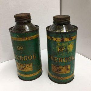BP Energol 2 oil cans.