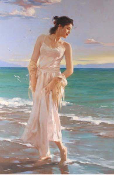Original Painting, White Gulls by Richard Johnson