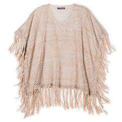 Girls' Hologram Poncho Sweater - Oatmeal