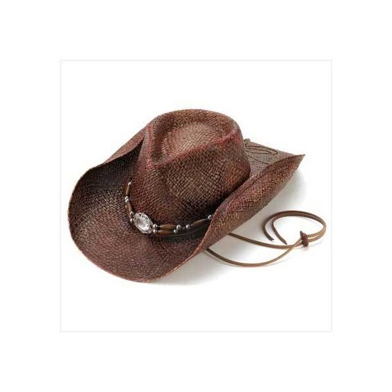 ePier - Woven Straw Cowboy Hat (free shipping) ❤ liked on Polyvore featuring accessories, hats, cowboy hat, straw cowboy hats, western hats, western straw hats and western style hats