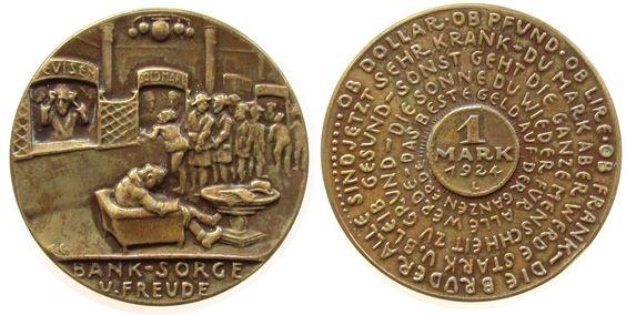 Münchner Medailleure Bronze Bank Sorge - auf die Rentenmark, Schlange am Bankschalter /  Spiralförmiger Text um 1 MARK 1924, v. Karl Goetz, Rand: BAY Medaille 1924 fast vz