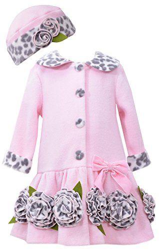 TODDLER GIRLS 2T-4T Pink Leopard Trim Rosette Border Fleece Coat/Hat Set, Pink, Bonnie Jean
