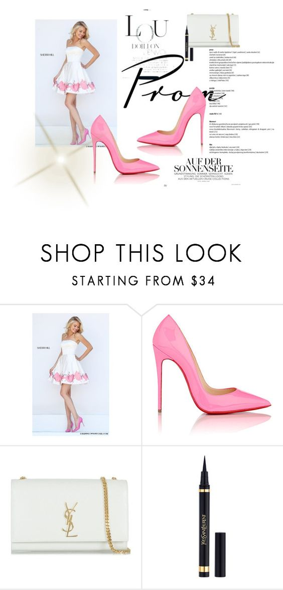"""""""Sherri Hill 50327 Ivory Ivory A Line Prom Dress Short"""" by susannelsone on Polyvore featuring Sherri Hill, Christian Louboutin and Yves Saint Laurent"""