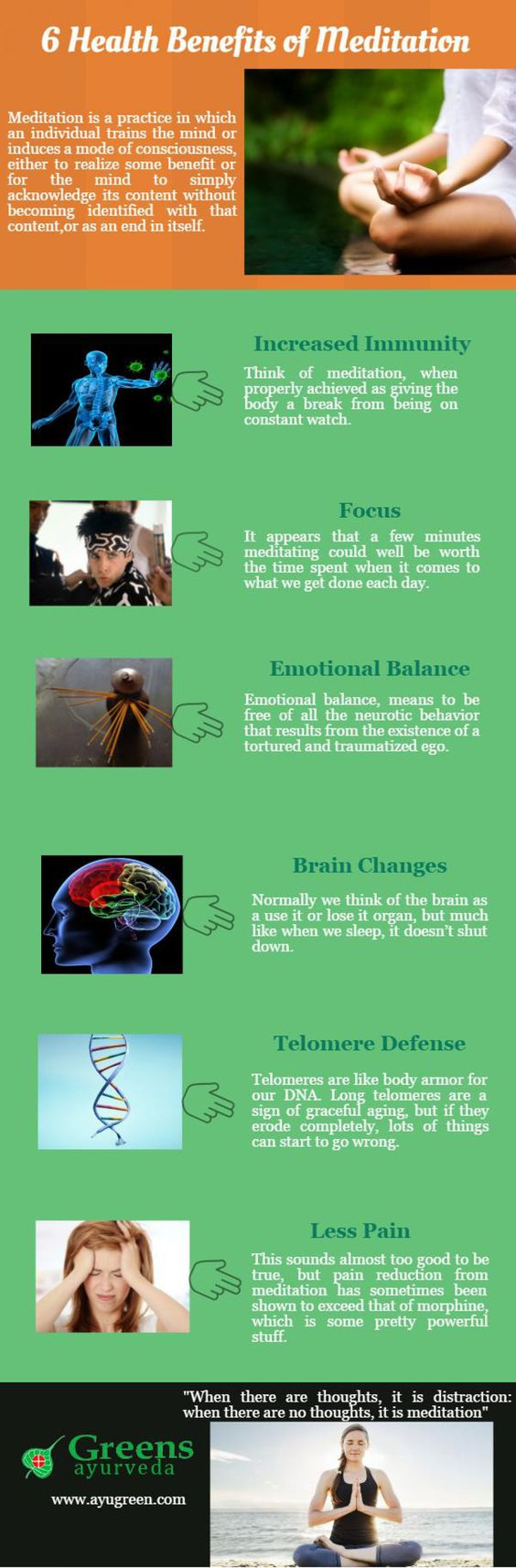 6 Health Benefits of Meditation Infographic