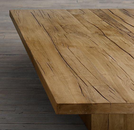 68 Reclaimed Russian Oak Plinth Coffee Table Coffee Tables Restoration Hardware Brooklin
