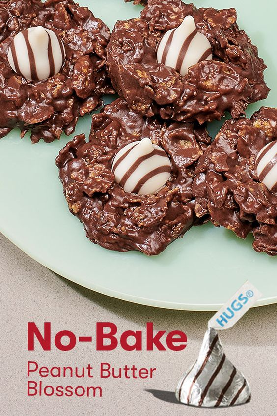 No Bake Peanut Butter Blossom Recipe Hershey S Kitchens Recipe Peanut Butter Blossoms Recipe Baking Recipes Cookies Christmas Cooking