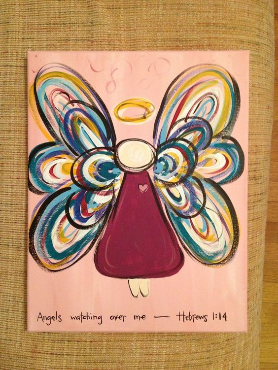easy to paint angels on canvas | Angel for a painting class.