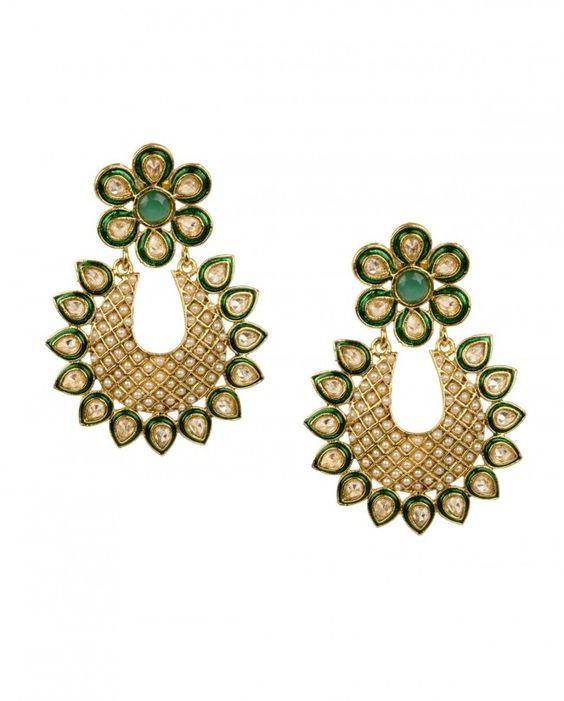 U Shape Pearl and Kundan Earrings by Kanira Jewelz Shop Now: http://bit.ly/kanirajewelznew #Golden #Crystal #Bling #India #Designer #KaniraJewelz #Indian #Kundan #Pearl #Wedding #Bangle #Ring #Earrings #Floral #Necklace #ExclusivelyIn #Jewellery #Multicolor #Paisley #Gold #Multicolour #Meenakari #Beads #Jewelry