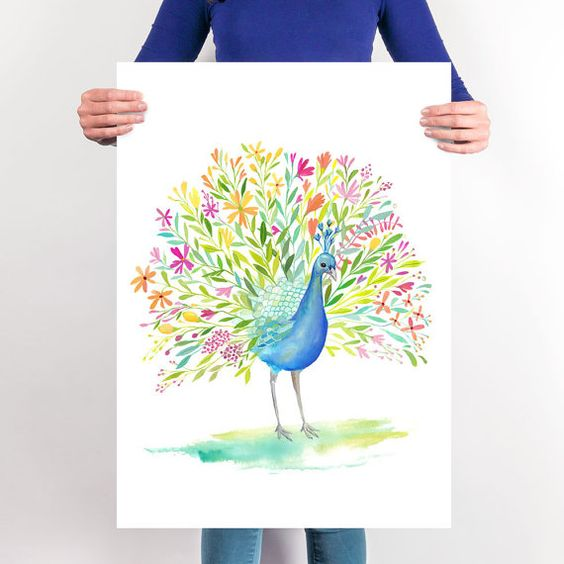 Printable Peacock Wall Art | Peacock Illustration | Instant Download Poster | Bird Decor | Gallery Wall Art | Digital Printable Bird Print