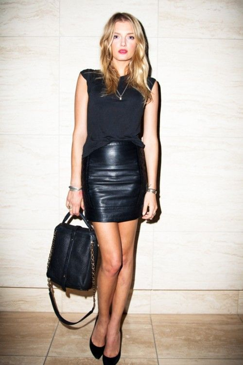 street style, fashion, outfit, casual chic, leather skirt, basic ...