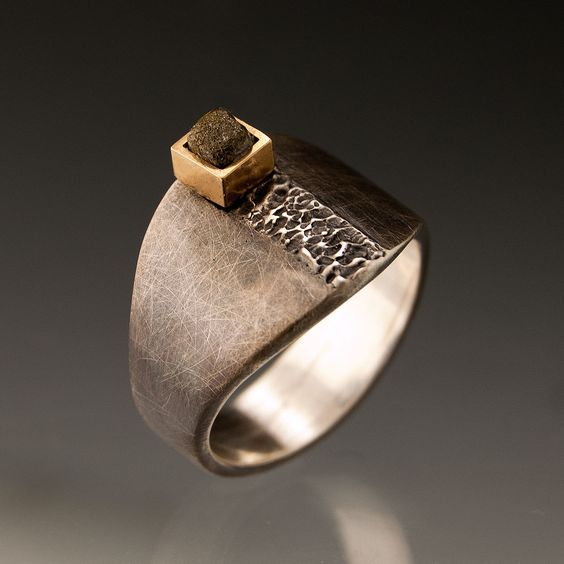 Ring | NodeForm Designs.  Sterling silver, rough diamond and 14k gold.