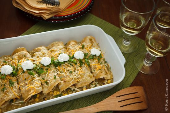 Roast chicken and corn enchiladas with a tangy tomatillo sauce. Nothing like homemade Mexican food.