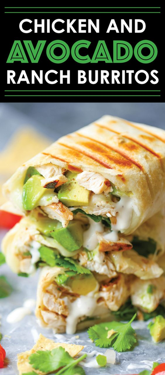 Chicken and Avocado Ranch Burritos - These come together with just 15 min prep! You can also make this ahead of time and bake right before serving. SO EASY!: