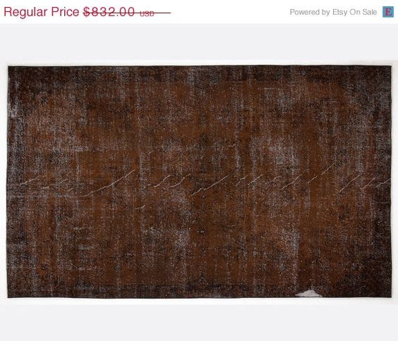 ON SALE 6,3 x 10,2 FT___191 x 311 Cm            Vintage Brown  handmade faded-distressed overdyed rug Free shipping (6231)