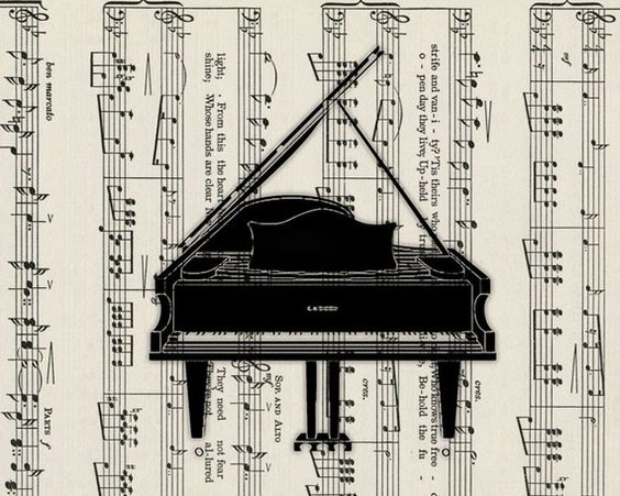 music sheet with piano
