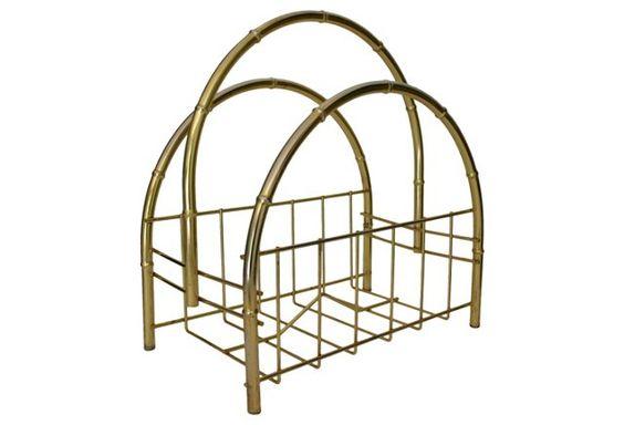 Brass Faux Bamboo Magazine Caddy $125  $2.99 goodwill ~C.N.