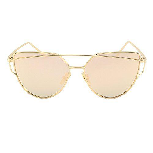 GQUEEN Occhiali da Sole Donna Montatura in Metallo a Specchio Lenti Polarizzate Occhi di Gatto MS4