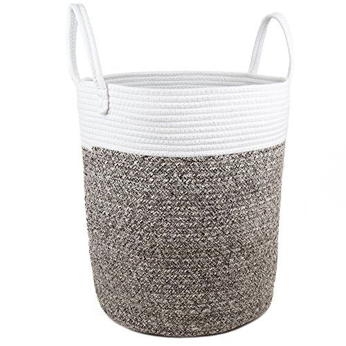 Comfy Cottage Extra Large Woven Storage Basket Big Rope Baskets For Blankets Baby Toy Round Laundry Hamper With Handles Pretty Tall Nursery Bins White
