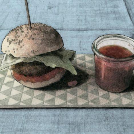 Quinoa Burger mit Aprikosen Chutney und veganen Brötchen