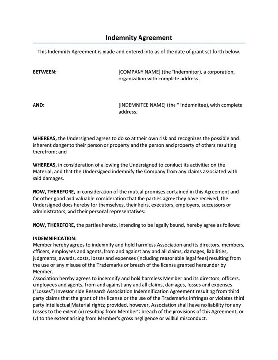 Indemnity Agreement Sample - indemnity form template