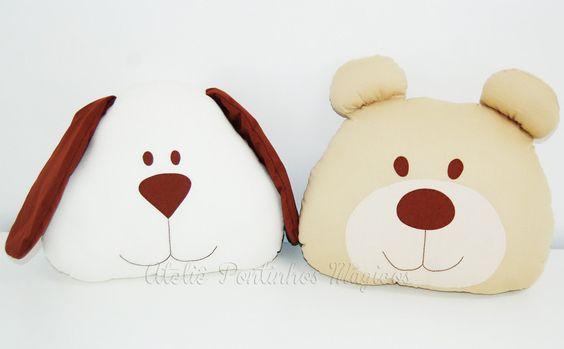 Almofada Ursinho ou Cãozinho - 01 peça - Pontinhos Mágicos - A loja do Bebê