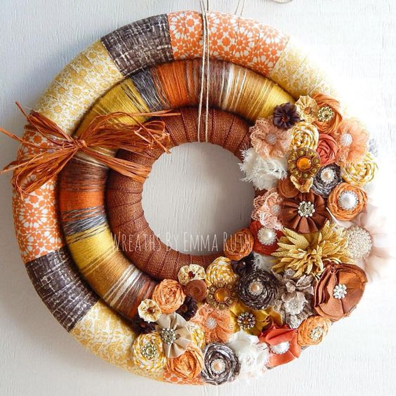 "Wreaths And Letters on Instagram: ""Beautiful fall triple wreath for. Customer. Love the colors in this one! #triplewreath #wrappedwreath #yarnwreath #fabricwreath #fabricwreath #feltflowers #handmade #unique #crafts #creative #craftliving #confessionsofacraftymom #doordecor #doublewreath #homedecor #wreathsbyemmaruth #wreathsofinstagram #etsy #etsyseller #fallwreath #falldecor"""