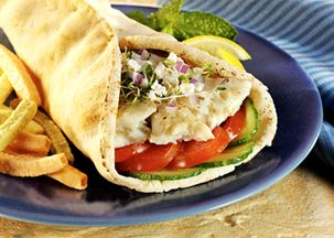 Lemon Pepper Tilapia Pita Wrap. Quick and easy (pop the fish in the microwave if you are on the run)! A few other variations: http://www.realwomenofphiladelphia.com/user/recipe/asian-marinated-tilapia-pitas-with-creamy-cucumber-and-peach-guacamole    or    http://allrecipes.com/Recipe/tilapia-pitas/detail.aspx