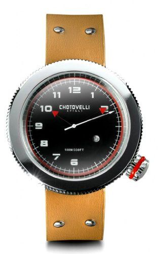 Chotovelli Gauge Mens Watch Alfa Romeo dial Tan leather Strap 4002 *** Continue to the product at the image link.