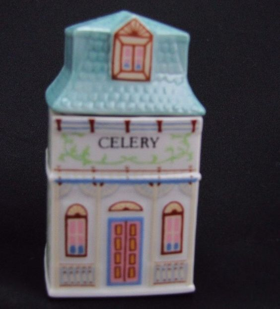 VTG 1989 Signed Lenox CELERY Porcelain Spice Village Cottage House Jar