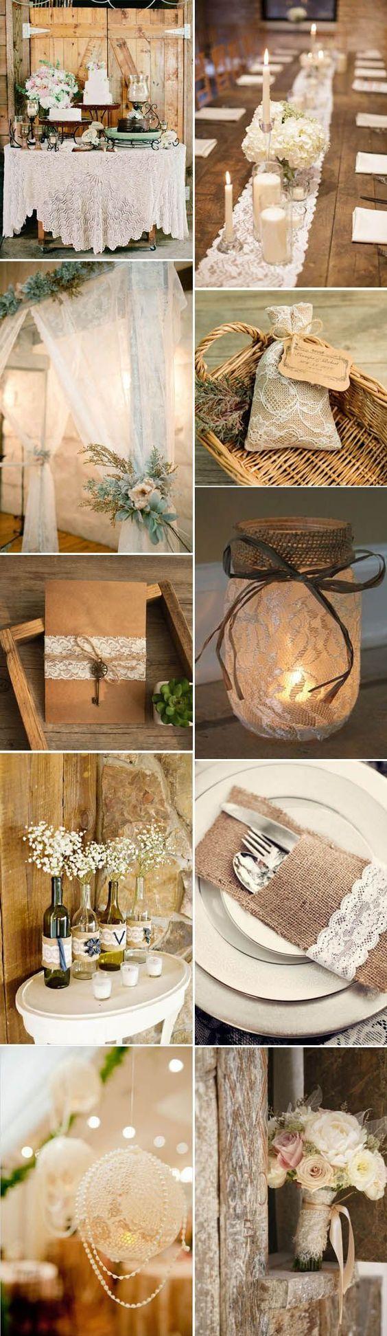 gorgeous lace rustic barn wedding ideas: