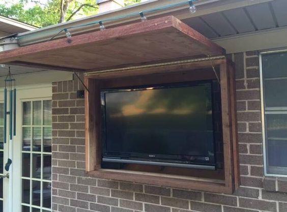 Outdoor TV cabinet made of rough cedar lumber #outdoortvcabinet