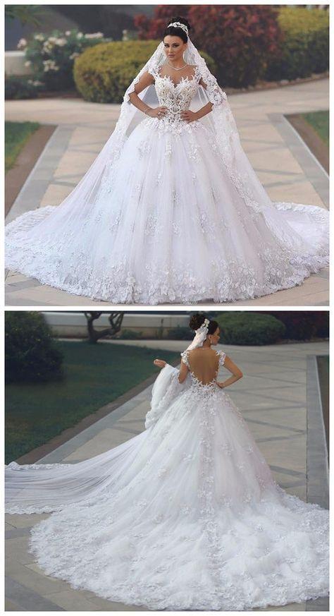 Vestidos de Novia Sexy See Through Bodice Wedding Dress Royal Tail Flowers Luxury Wedding Gowns Bride Dresses Bruidsjurken - #Vestidosdeboda #VestidosDeNovia #Vestidosdenoviaelegantes #Vestidosdenoviaprincesa #Vestidosdenoviasencillos #Vestidosdenoviasirena