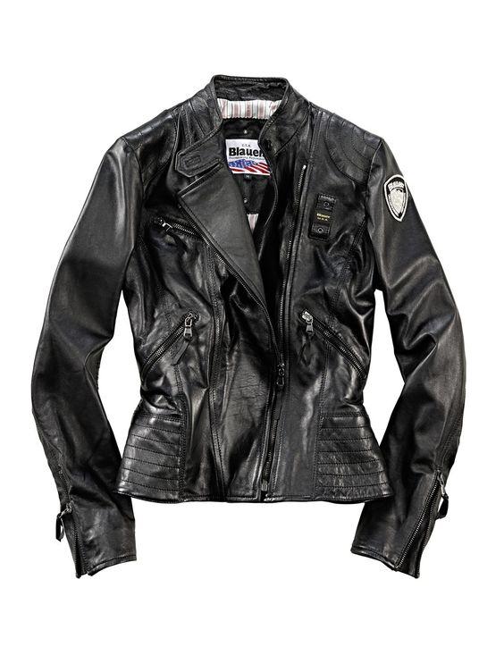 Blauer USA Damen Lederjacke in Schwarz
