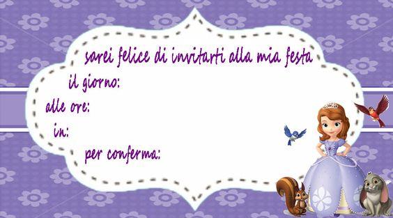 inviti per feste principessa Sofia Sofia the First http://www.lefestediemma.com/download-inviti-per-feste/