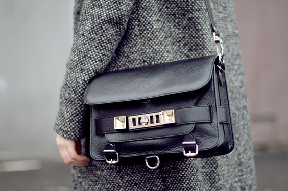 Grey coat and black bag