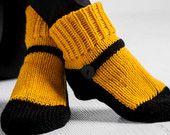 Knit Slipper Sock Adult Maryjane Slipper Sox Goldenrod Yellow House Slippers Womens Slippers Home Slippers Black House Shoes Home Shoes