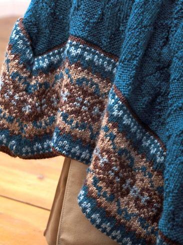Knitting Pattern Blanket Border : Fair Isle Border Blanket and Pillow Yarn Knitting ...