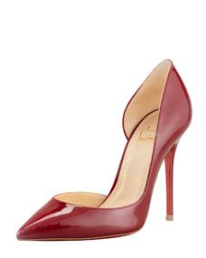 Christian Louboutin Iriza Pointed-Toe dOrsay Red Sole Pump, Rouge