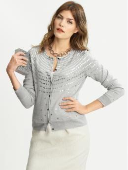 Sequin circles cardigan  40% Acrylic, 60% Extra-fine merino wool. Hand wash cold.