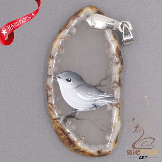 FASCINATING HAND PAINTED BIRD GEMSTONE AGATE DIY NECKLACE PENDANT…