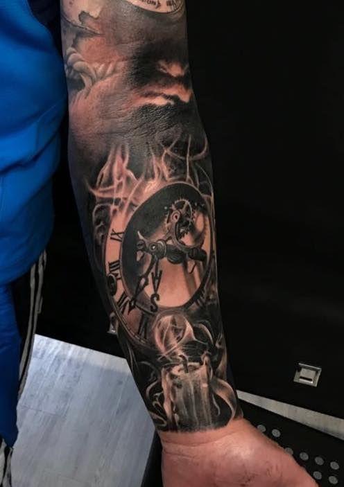 Candle Clock Tattoo Artist Lorand Www Holytrinitytattoos Co Uk Holytrinitytattoos Gmail Com Send Us A Me Clock Tattoo Candle Tattoo Watch Tattoos