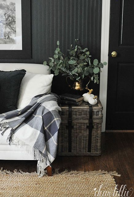 Adding plaid throws throughout the house like this one from HomeGoods in our guest room helps add a coziness for the upcoming cool fall nights. (sponsored pin)