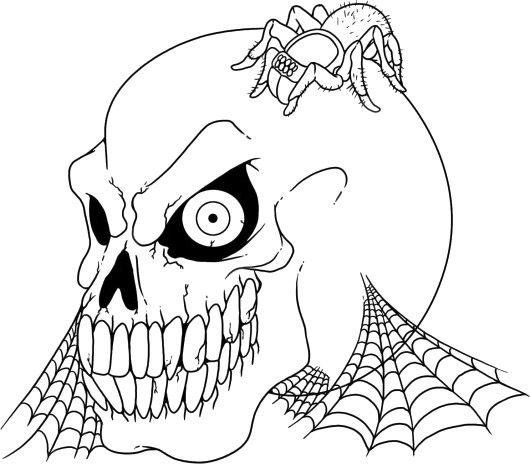 Scary Halloween Skull And Spider Coloring Page | Cute Spider ...
