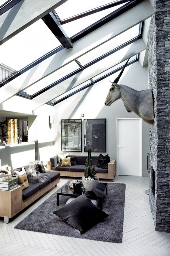 I think this space I don't care much for the animal (the name of this animal has escaped me)  on the wall though but I love the thought of the skylight nice bright in during the day and you can see the stars at night since i will be  living on a farm so I can have a nice view. :):